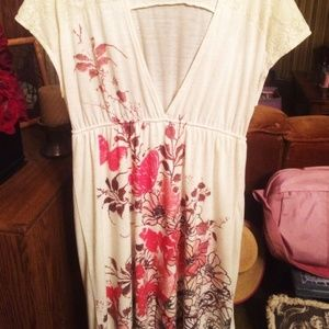 maurices cream knee length dress size M